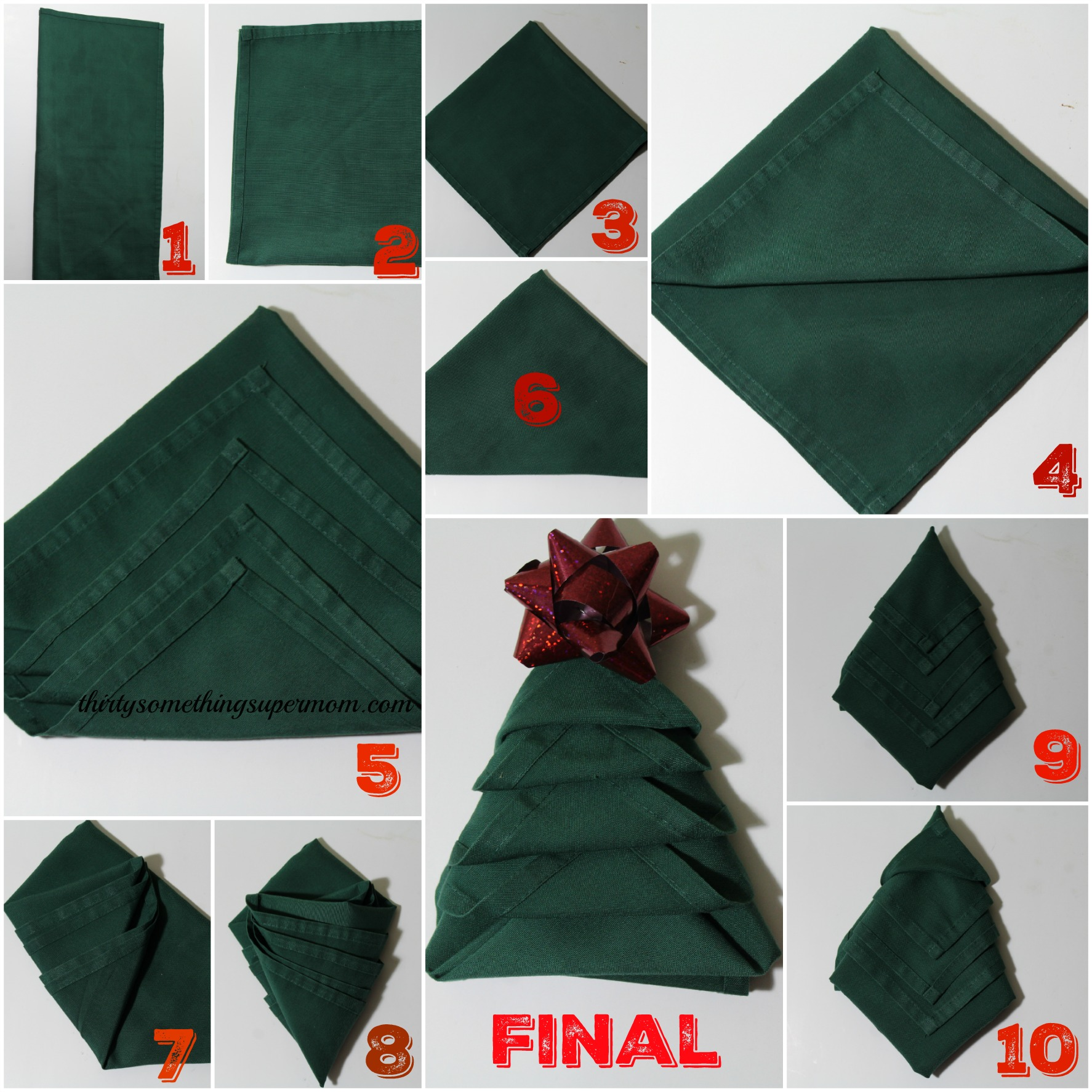 how to fold napkins into christmas trees thirtysomethingsupermom. Black Bedroom Furniture Sets. Home Design Ideas