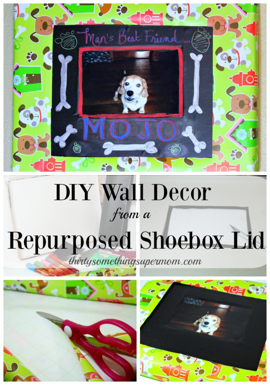 This easy tutorial shows step by step on how she created a beautiful piece of wall art from a repurposed shoe box lid.