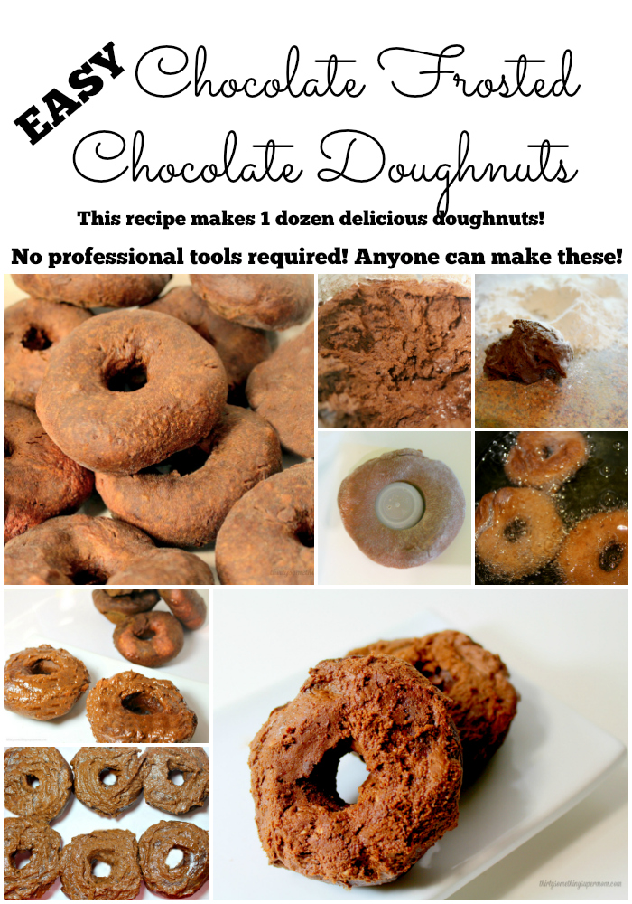 Easy Chocolate Frosted Chocolate Doughnuts