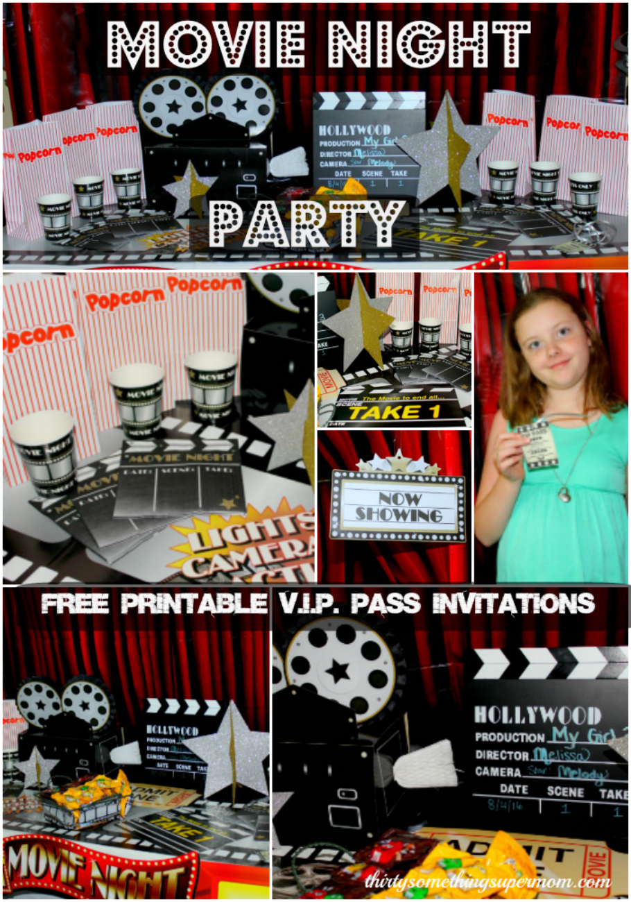 Movie Night Theme Party with free printable invitations
