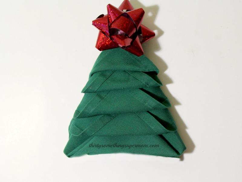 How to Fold Napkins into Christmas Trees - ThirtySomethingSuperMom